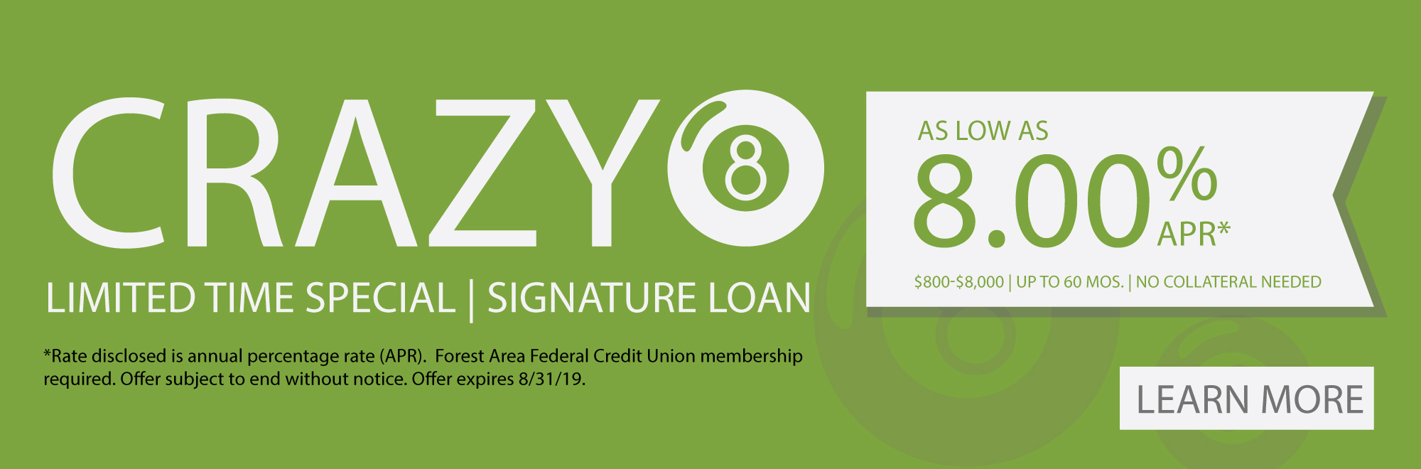Cray 8 loan special 8.00% APR for Signature loans