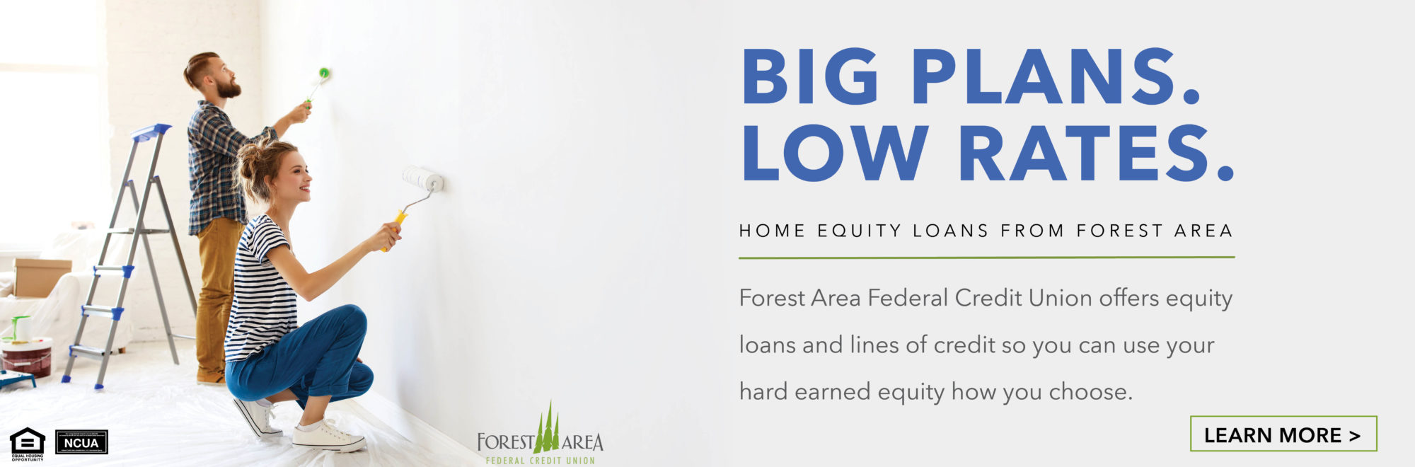 Forest Area FCU offers equity loans and lines of credit so you can use your hard earned equity how you choose