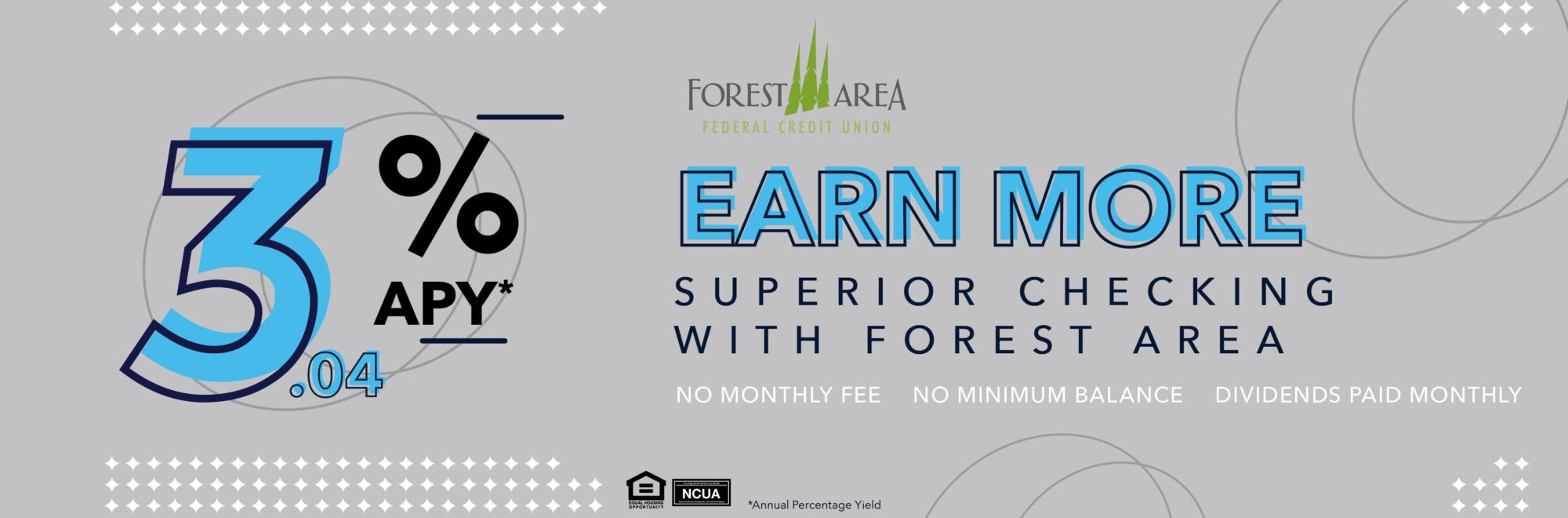 Earn 3.04% Annual Percentage Yield with Superior Checking. No monthly fee or minimum balance. Dividends paid monthly.